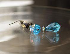 Something Blue, Blue Crystal Lights, Cobalt Blue Art Deco Earrings, One of a KInd