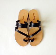 Sandals Genuine Greek Style Leather Sandals in Black by Sandelles
