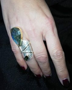 Absolutely handmade one of a kind ring,tourmaline labradorite.