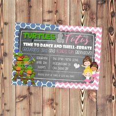 Twin or Sibling Invite - Turtles and Tutus - Girl Ninja Turtle Invite - Chalkboard Invite - Printable File by CreativeKittle on Etsy