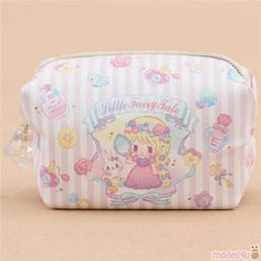 cute small Little Fairy Tale coin from Japan, with bead embellishment on the zipper, inner lining: light cream Cute Fashion, Fashion Bags, Japanese Stationery, Kawaii Shop, Light Cream, Cute Designs, Card Wallet, Rapunzel, Bag Storage