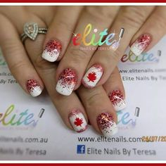 Canada Canadian themed nails cnd shellac nail art maple leaf red and white