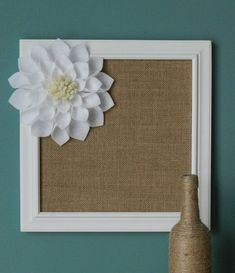 Burlap Covered Framed Cork Board with Large White Felt Flower(Cork, Corkboard, Burlap Cork Board, Felt Flower, Kitchen Decor, Office Decor) on Etsy, $37.50