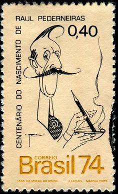 1974 Raul Pederneiras centennial birthday, Brasil caricatures on stamps