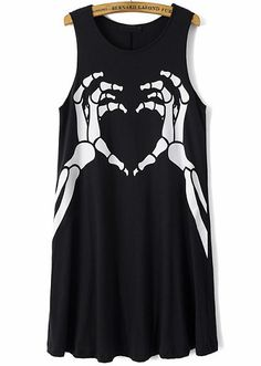 Black Sleeveless Skeleton Hand Print Dress