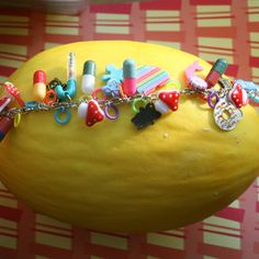 Kitschy Happy Pills And Rainbows Loaded Charm Bracelet : Image 1 of 5