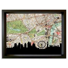 Vintage Map Artwork - Skyline, The City, Framed 60x80cm