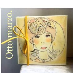 Box, watercolor, print, woman