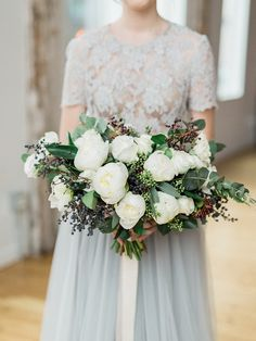 Wedding Inspiration in Shades of Gray with White and Green