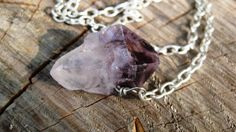 Rough Point Amethyst -Protection Amulet- Sterling Silver Filled Wire Wrapped Pendant Necklace