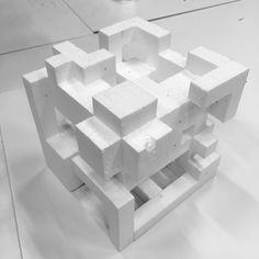 Cube architectural model, polygonal architecture design composition, maquet, space composition, cubic volume, gypsum, modern contemporary stone geometric sculpture Concept Models Architecture, Colour Architecture, Futuristic Architecture, Cube Design, Design Case, Temporary Architecture, Parametric Architecture, Concrete Sculpture, Isometric Art