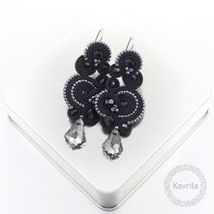 Nespire dark silver soutache - kolczyki wieczorowe sutasz KAVRILA #sutasz #kolczyki #wieczorowe #rękodzieło #soutache #handmade #earrings #night #black #darksilver #kavrila
