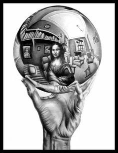 M.C  Escher art but the with Mona Lisa instead haha