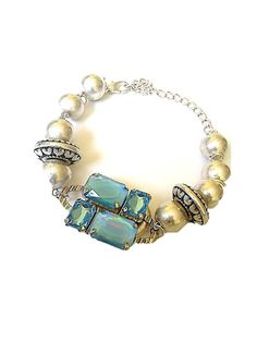 Turquoise Blue Crystal Pendant Bracelet With Lustre Metal Beads And Lobster Claw Clasp - £38.00