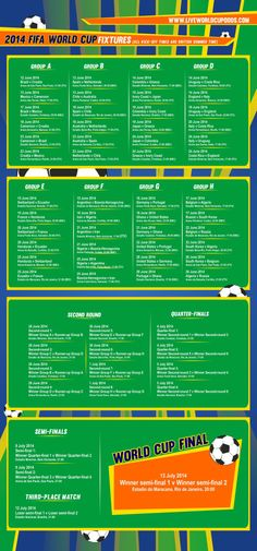 All the fixtures from the 2014 World Cup