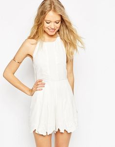 ASOS Premium Halter Playsuit with Embroidery and Tie Back