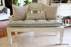DIY: Shabby chic bench from headboard and end table. Via tutorial http://goodideasforyou.com/mix-a-match.html