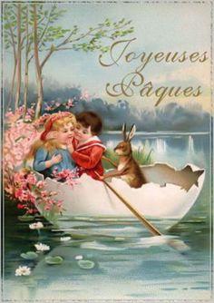 French Vintage Easter Card.  suzilove.com