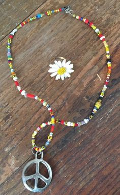 Vintage Beaded Peace Sign Necklace and Plastic Daisy Flower Ring | eBay
