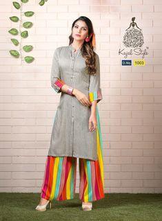 Indian kurta dress With Pant palazzo TopTunic Set blouse Combo Ethnic Bottom new Simple Kurta Designs, Kurta Designs Women, Kurti Neck Designs, Dress Neck Designs, Sleeve Designs, Shirt Designs, Biba Fashion, Style Fashion, Collar Kurti