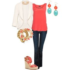 Coral is eating it UP this year!  I love it! (But prefer it without the blazer.)  coral, created by amf629.polyvore.com