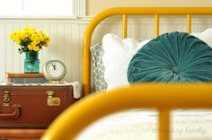 everyday lovely: My Yellow Iron Bed
