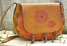 Vintage 70s Leather Hand painted Leather Flower Purse