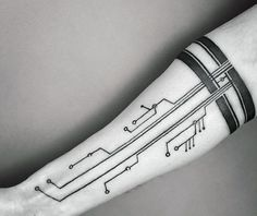Armband Tattoo With Circuit Board Mens Ink Ideas