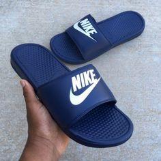 Nike Benassi for sale Brown Sneakers, Best Sneakers, Sneakers Fashion, Leather Sneakers, Fashion Shoes, Nike Slides Mens, Women Slides, Nike Benassi Slides, Cute Slides