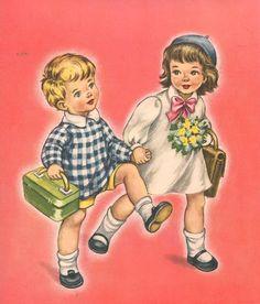 Illustration by Mariapia Images Vintage, Vintage Pictures, Vintage Cards, Retro Kids, Vintage School, Children Images, Old Postcards, Children's Book Illustration, Drawing For Kids