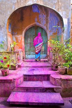 A very colorful entrance-area [ Portal ] and the door in India. The image seems to have been captured soon after the Holi color-splashing -- all that color on the steps is indicative of that. Colors Of The World, Beautiful World, Beautiful Places, Portal, Incredible India, Oh The Places You'll Go, Color Inspiration, Sunday Inspiration, Garden Inspiration