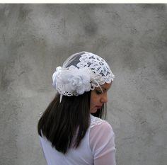 Cap Veils Weddings / Bridal Accessories Hair Bridal headband Boho ooak Head piece 1920 hair headress fascinator on Etsy, $128.00