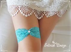 Tiffany Blue Wedding Garter Something Blue by SelinishDesign, $11.85 @Katie Hrubec Hrubec McGuire  I like it being colored like this. Pin all the things! Aha ha