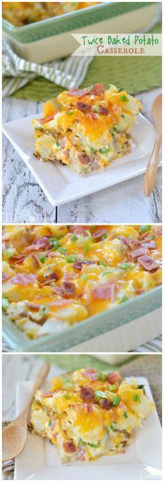 Twice Baked Potato Casserole - comfort food at it's best!   MomOnTimeout.com   #casserole #potatoes #recipe