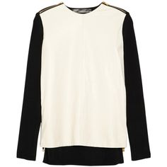 Proenza Schouler Zip-detailed leather and ribbed-knit top (€570) ❤ liked on Polyvore featuring tops, sweaters, shirts, jumper, zipper sweater, leather sleeve sweater, white fitted shirt, sleeve shirt and cream shirt