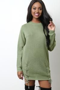 Side Lace Up Sweater Dress – Bend the Trend Boutique Sweater Dress Outfit, Keep Warm, Pull, Casual Dresses, Fitness Models, Lace Up, Plus Size, Clothes For Women, Sweaters