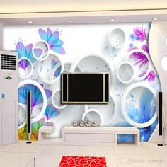 Elegant Wallpaper TV setting wall paper Flowers and circle sitting room sofa background large murals 3 d Movies wall paper Free shipping
