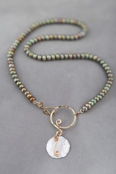 Olivine Freshwater Pearl Necklace with by JenniferEngelDesigns, $122.00