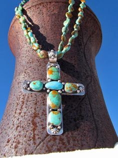 Classic Cross with turquoise and silver. Coral Turquoise, Turquoise Jewelry, Silver Jewelry, Kingman Turquoise, Southwest Jewelry, Southwest Style, Lapis Lazuli, Jewelry Crafts, Handmade Jewelry