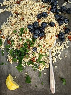 Spring salad with couscous and blueberries