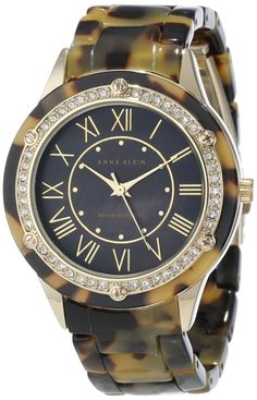 Anne Klein Women's AK/1304BMTO Swarovski Crystal Accented Tortoise Resin Bracelet Gold-Tone Watch : Disclosure: Affiliate link