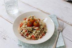 Pasta met boursin, aubergine en paprika