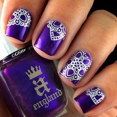 1. England - Avalon (royal purple) 2.Essie - No Place Like Chrome (silver metallic) for stamping  3. Moyou London Explorer plate no 3