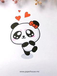 Cute Panda Drawing, Cute Animal Drawings Kawaii, Cute Easy Drawings, Cute Little Drawings, Cute Cartoon Drawings, Art Drawings Sketches Simple, Cute Panda Cartoon, Doodles Kawaii, Cute Doodles
