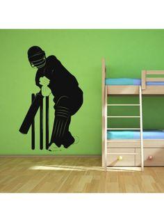 Cricketer Outline Wall Art Sticker 16 01