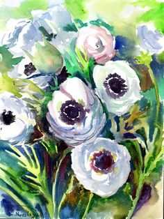 Buttercups White Ranunculus original watercolor by ORIGINALONLY, $32.00