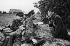 The interrogation of captured German soldier. 1942. Red Army officers on the left side