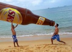 Ash - here's another beach pic for us! But with a bottle of Jerry