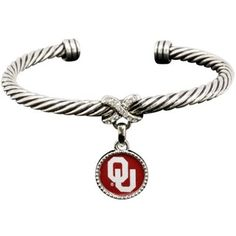 Oklahoma Sooners Ladies Antiqued Silver Twisted Cable Bracelet