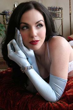 On Dollhouse Bettie: Classic Baby Blue Stretch Satin Opera Gloves $13.50